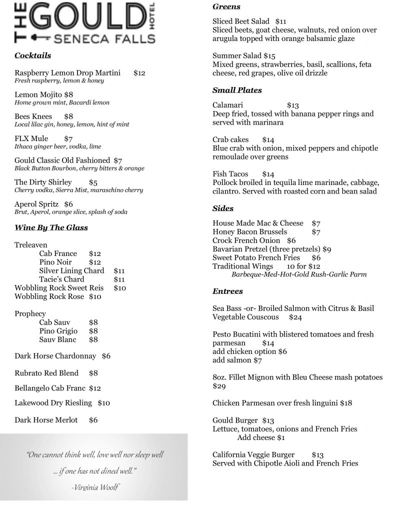 The Gould Hotel Restaurant Menu for Winter 2019