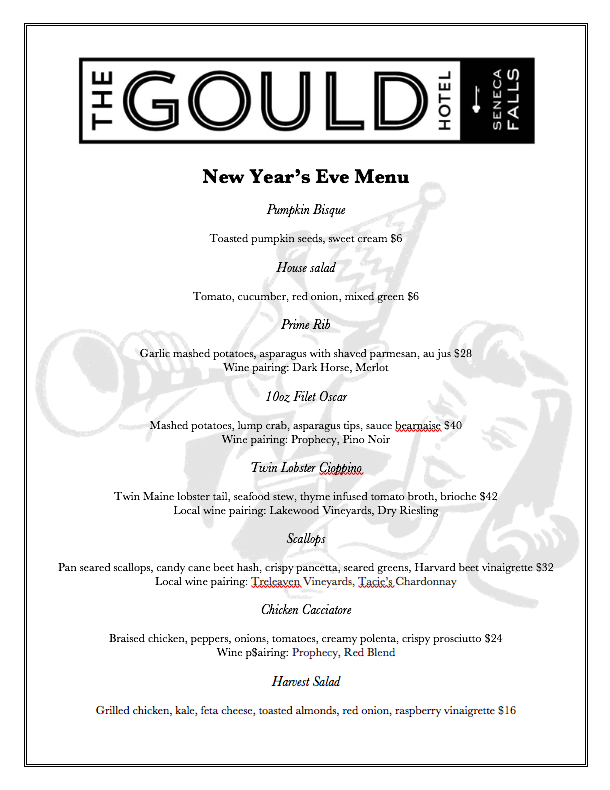 new year's eve special menu for the gould hotel restaurant