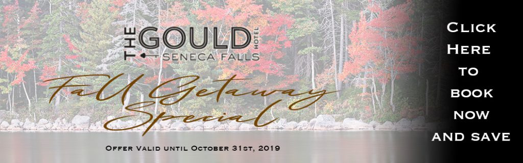 Fall Getaway Special banner ad for the Gould in Seneca Falls, New York