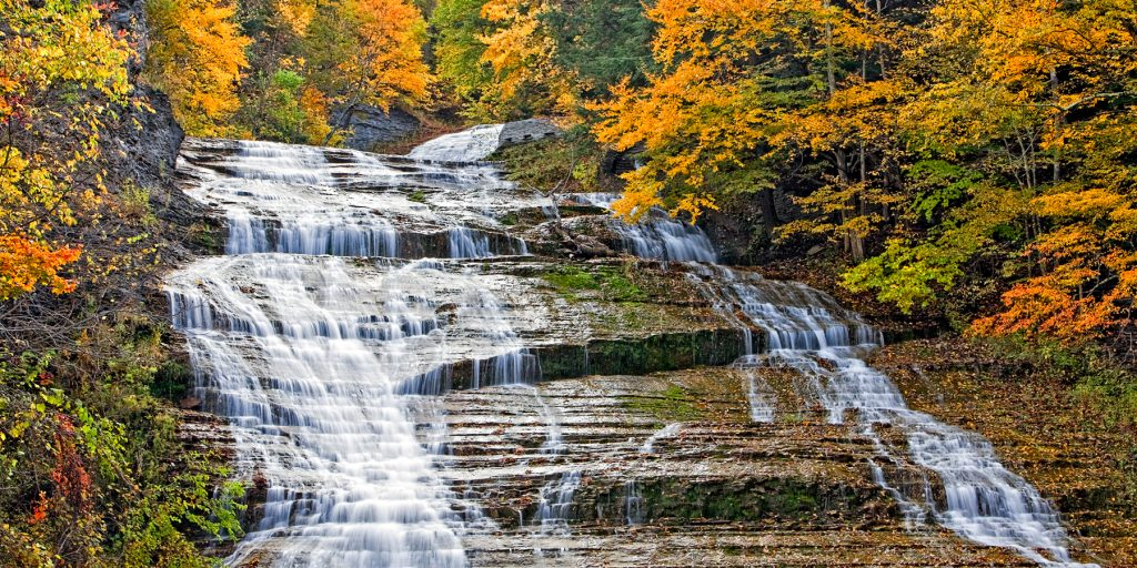 Buttermilk Falls State Park photo to go with the article 5 best parks for fall color in the finger lakes for the gould hotel