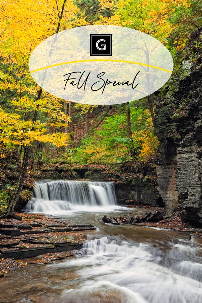 The Gould Hotel in Seneca Falls, New York Fall Special Promotion image of Fillmore Glen State Park in the fall